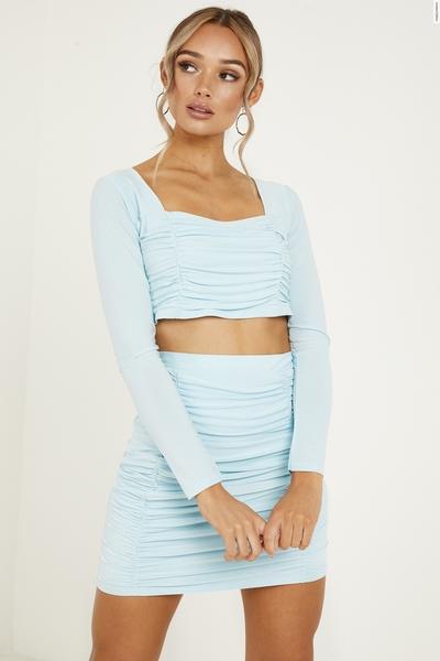 Mint Ruched Mini Skirt